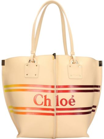 Chloé Medium Vick Beige Calf Leather Tote Bag