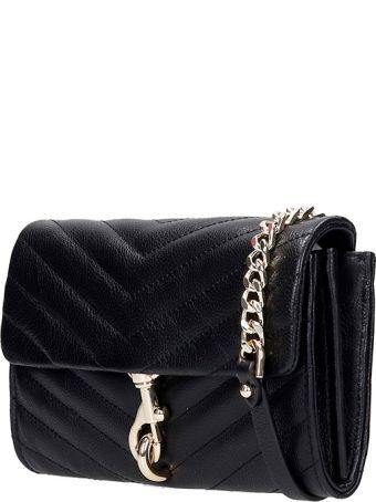 Rebecca Minkoff Edie Wallet On Shoulder Bag In Black Leather