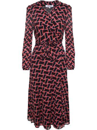 Diane Von Furstenberg Phoenix Vintage Weave-print Mesh Wrap Dress