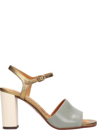 Chie Mihara Grey Gold Leather Sandals