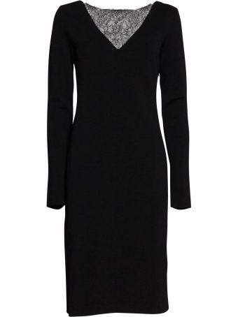 Givenchy Midi Dress With Lace Detail In Black