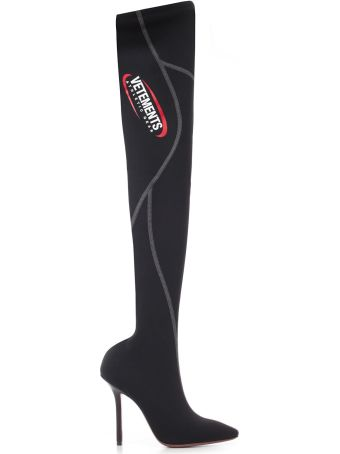 VETEMENTS Logo Print Over-the-knee Boots