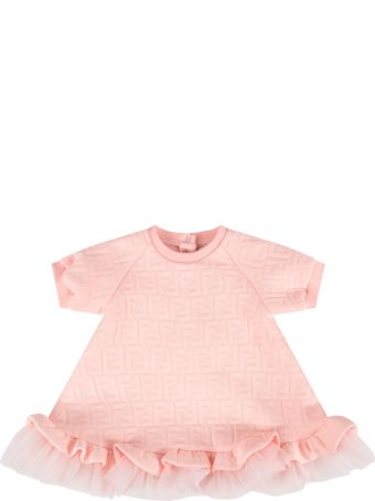 Fendi Pink Dress With Double Ff For Baby Girl
