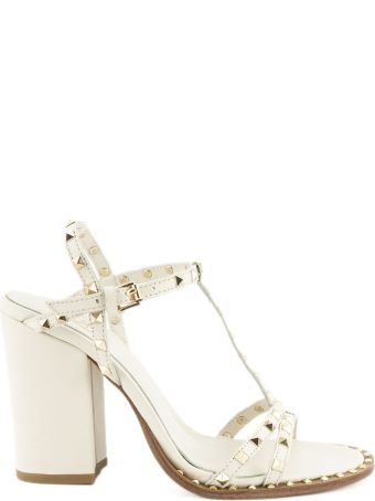 Ash Lips Low Sandal In Ivory Leather