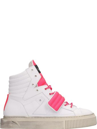 Gienchi White And Pink Fluo Rubber Hypnos Sneakers