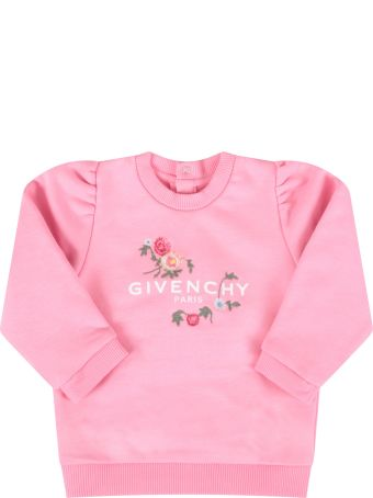 Givenchy Pink Sweatshirt For Baby Girl With Flowers