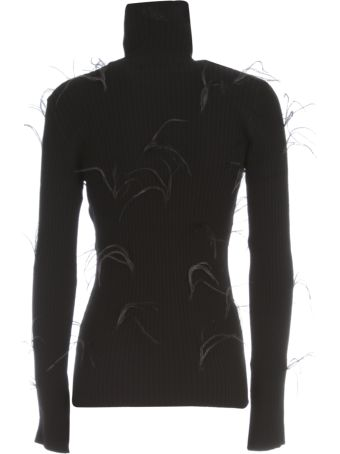 Marques'Almeida Light Weight Feather Turtleneck Jumper With Flared Sleeves