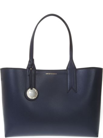 Emporio Armani Night Blue Shopper In Faux Leather With Logo Charm