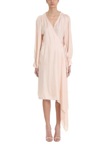 Maison Flaneur Wrap Pink Silk Dress