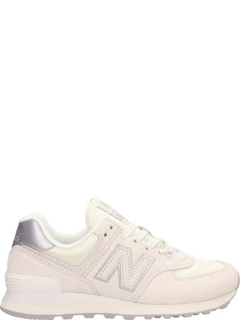 New Balance White Suede And Fabric 574 Sneakers