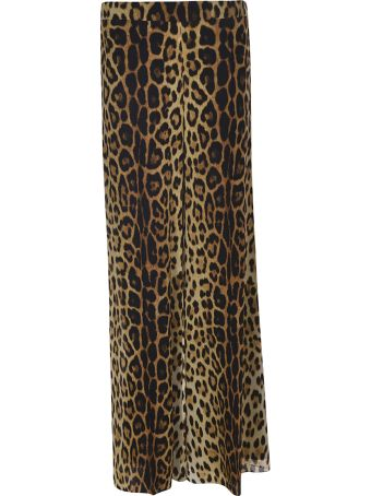 Moschino Flared Leopard Skirt