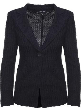 Giorgio Armani Single-breasted Embossed Wool-blend Blazer