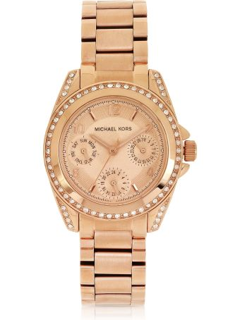Michael Kors Rose Golden Mini-size Blair Multi-function Glitz Watch