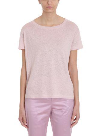 Acne Studios Cotton And Linen Pink Eldora T-shirt In