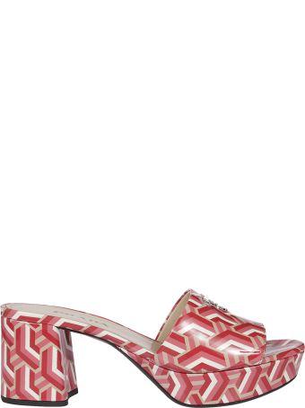 Prada Abstract Print Block Heel Sandals