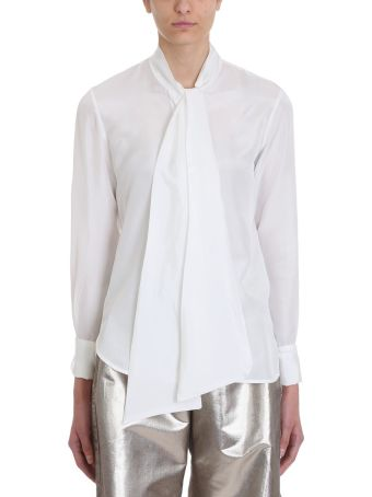 Mauro Grifoni White Silk Bow Blouse