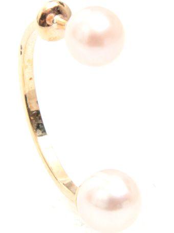 Delfina Delettrez Double Pearls Earring 9kt Gold