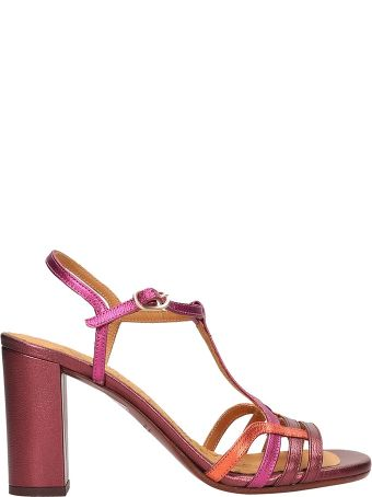 Chie Mihara Burgundy And Fuchsia Leather Bely Sandals
