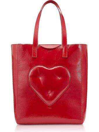 Anya Hindmarch Dark Red Naplak Chubby Heart Tote Bag