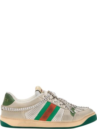 Gucci Screener Sneaker With Crystals
