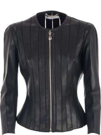 Versace Collection Jacket Leather W/tulle Inserts