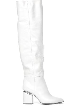 Vic Matié White Leather Stove Pipe Boots With Suspended Heel