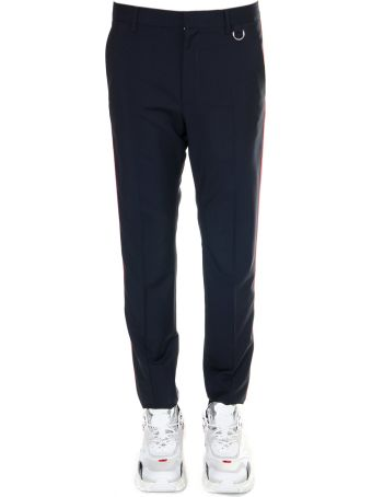 Valentino Blue Trousers In Mohair Wool With Side Stripes