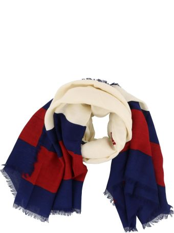 Gucci Silk And Modal Foulard With Guccy And Web Print