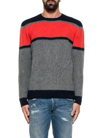 Drumohr Blue/orange/gray Striped Wool Sweater