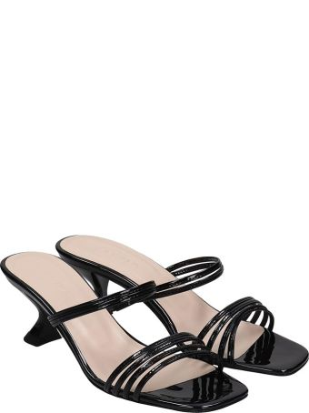 Kalda Simon Mini Sandals In Black Patent Leather