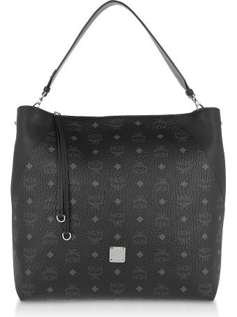 MCM Large Black Visetos Klara Hobo Bag