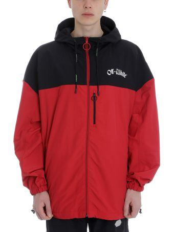 Off-White Red/black Nylon Windbreaker Jacket