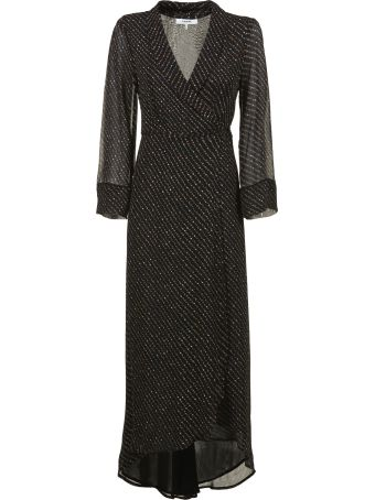 Ganni Polka Dot Print Wrapped Midi Dress