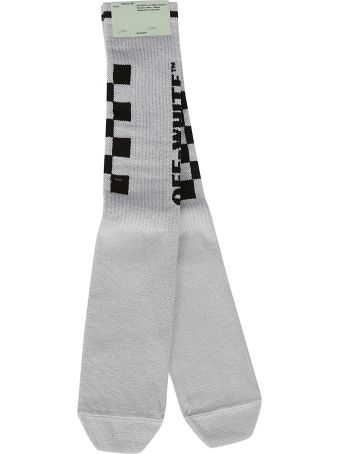 Off-White Checked And Logo Knit Socks