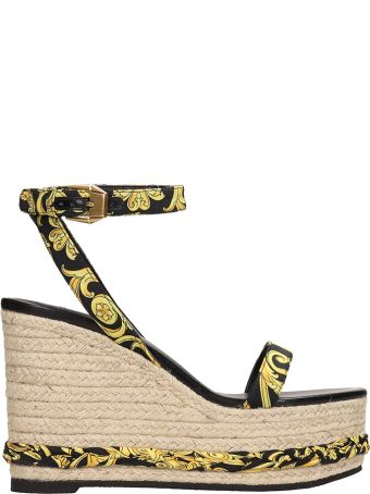 Versace Barocco Fabric Ankle Strap Straw Wedges