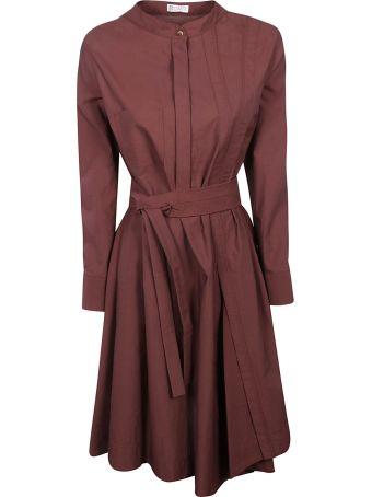 Brunello Cucinelli Pleated Belted Waist Dress