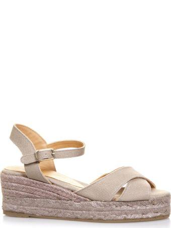 Castañer Beige Crossed Cotton Sandals