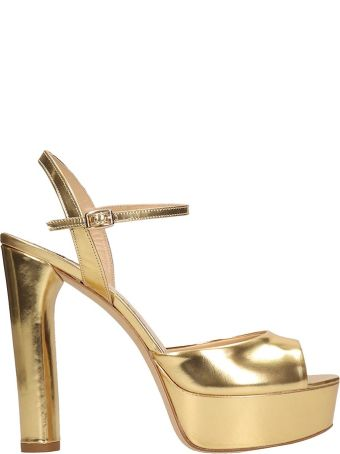 The Seller Gold Laminated Leather Sandals