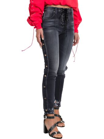 Ben Taverniti Unravel Project Skinny Jeans With Lether Lace And Snap Buttons Along The Sides