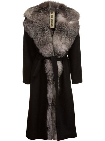 Project Foce Project [Foce] Belted Waist Fox-Furred Coat