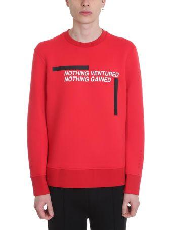 BLACKBARRETT by Neil Barrett Nothing Ventured Red Neoprene Sweatshirt