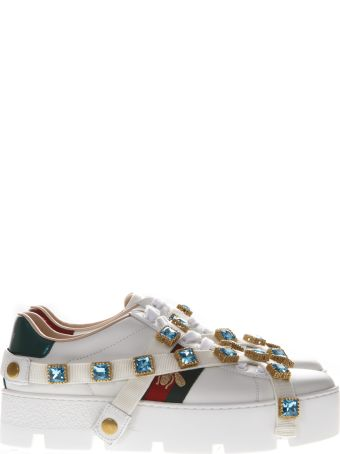 Gucci White Leather Ace Sneaker With Web  And Cristals