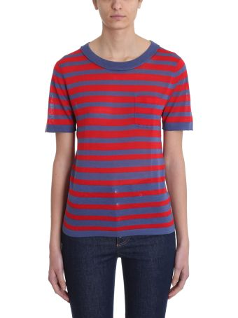 Sonia Rykiel Striped Blue Red Cotton T-shirt