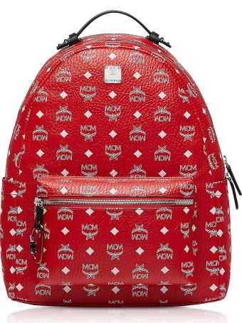 MCM Viva Red Stark Backpack W/white Logo Visetos 40
