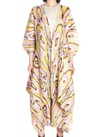 Pleats Please Issey Miyake 'wooden Pattern' Cardigan
