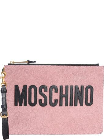 Moschino Glitter Leather Pouch