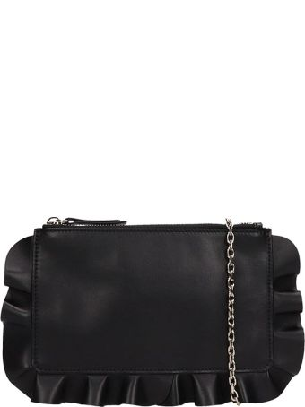 RED Valentino Black Leather Clutch Rouche Bag