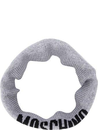 Moschino Grey Neckwarmer With Logo Press