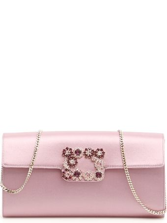 Roger Vivier Flower Buckle Envelope Clutch