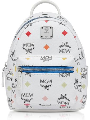 MCM White Skyoptic Visetos Stark Bebe Boo Backpack